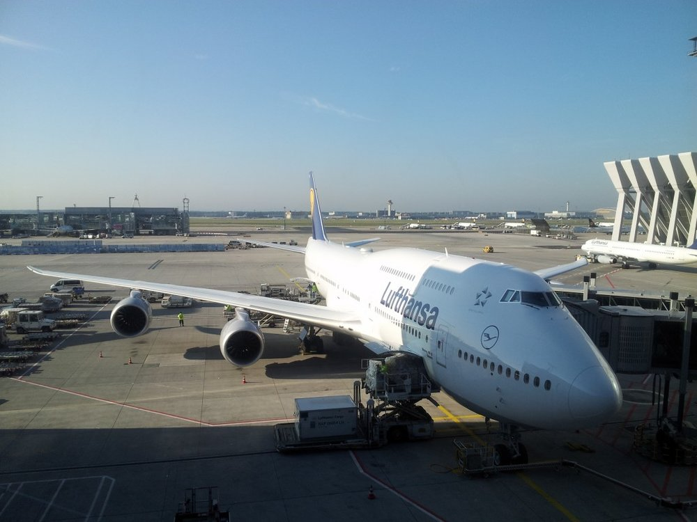 We flew the new 747-8, and so did the instrument. Note the raked wingtips rather than winglets