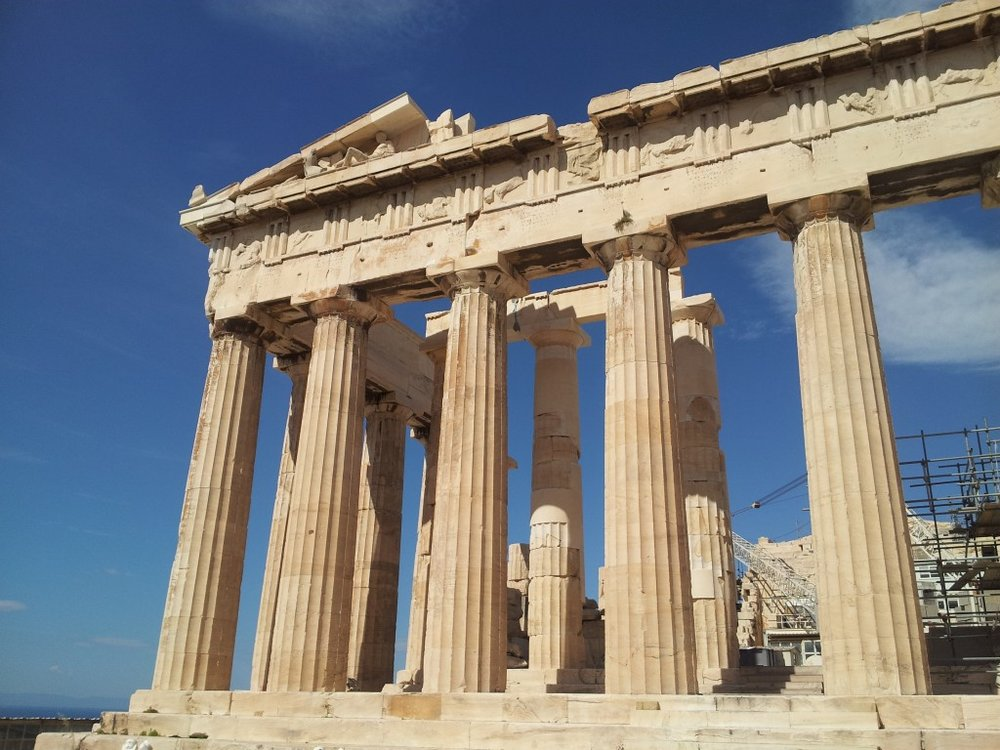 We briefly navigated the slippery steps of the Parthenon before I bolted off for practice