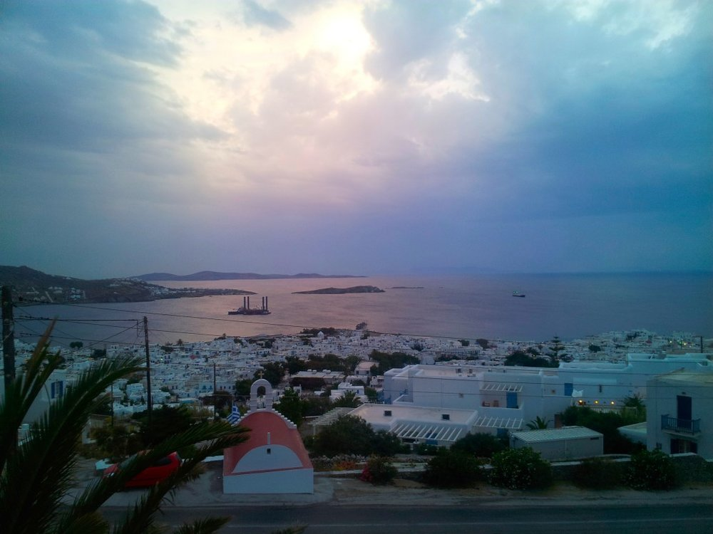 Even with clouds, Mykonos is a fairy-tale and the light other-worldly