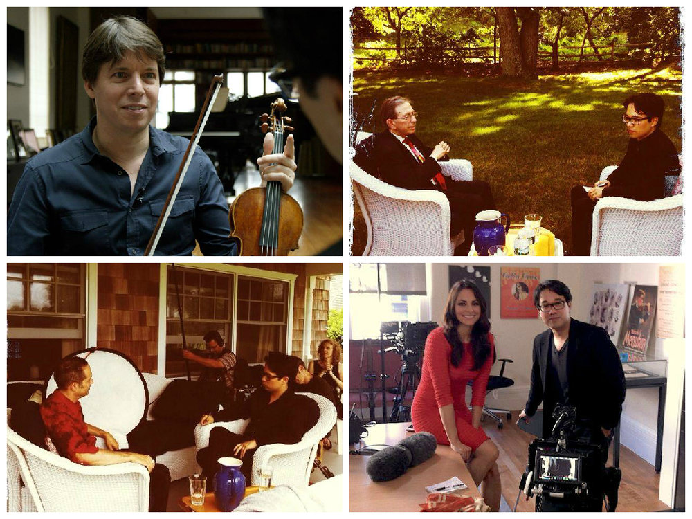 UL: Joshua Bell in his home in NYC. UR: Jerome Lowenthal. LL: Mark Ainley LR: Isabel Leonard at Carnegie Hall