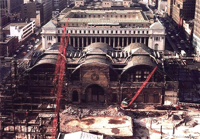 """The New York Times: """"Until the first blow fell, no one was convinced that Penn Station really would be demolished, or that New York would permit this monumental act of vandalism against one of the largest and finest landmarks of its age of Roman elegance."""""""
