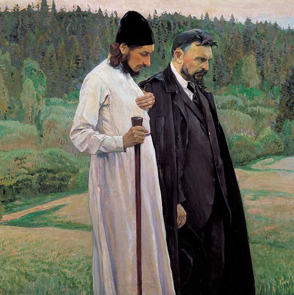 This is a portrait of Russian philosophers Pavel Florensky and Sergei Bulgakov from 1917. Mikhail Nesterov (1862–1942)