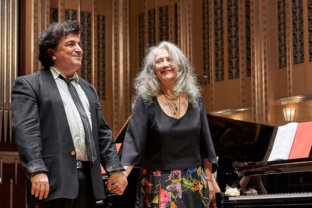 Sergei Babayan and Martha Argerich in Severance Hall, Cleveland. Photo by Roger Mastroianni.
