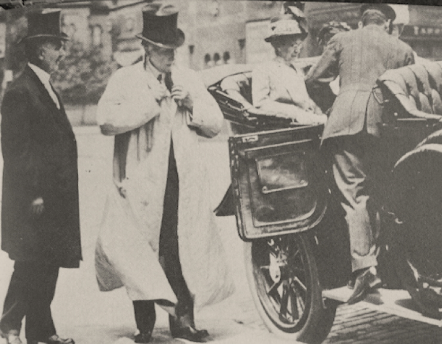 John D. Rockefeller prepares to embark down the Avenue. He had two mansions on Euclid Avenue, including the Forest Hill estate. His favorite daily activity was the journey down the avenue.