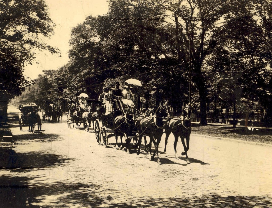 Carriages were an incredible sight on the avenue, and this was the Four-in-Hand Club on Millionaire's Row.
