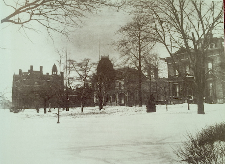 The mansions attracted visitors from around the world. The house in the center, the Stager-Beckwith mansion, still stands today: the last 19th-c. Euclid Avenue mansion in existence. Note the sculptures in the front yard. On the left is the Charles Brush Mansion; to the right is the Wade Mansion.