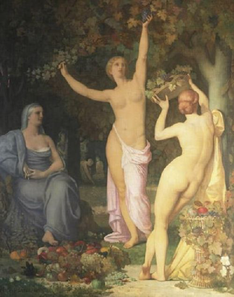 """""""Autumn"""" by Pierre Puvis de Chavannes: avenue residents competed with each other during trips to Europe with acquisitions of European masters. This painting sat in Samuel Mather's mansion--later the avenue paintings formed the basis of the Cleveland Museum of Art's incredible collections after the homes were demolished."""
