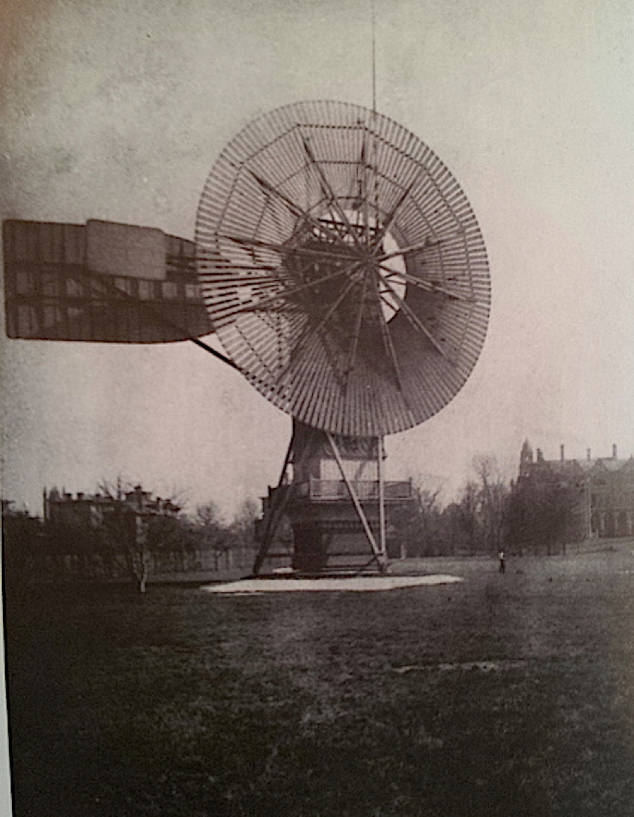 Charles Brush was an inventor whose backyard hosted the world's largest windmill for electricity. Note the tiny size of the human.