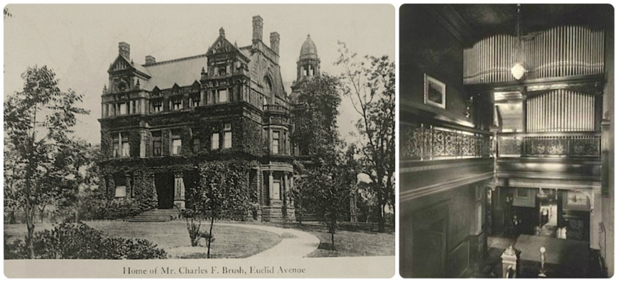 The Brush home was outfitted by Louis Comfort Tiffany and the three-story atrium was centered around a Skinner pipe organ.