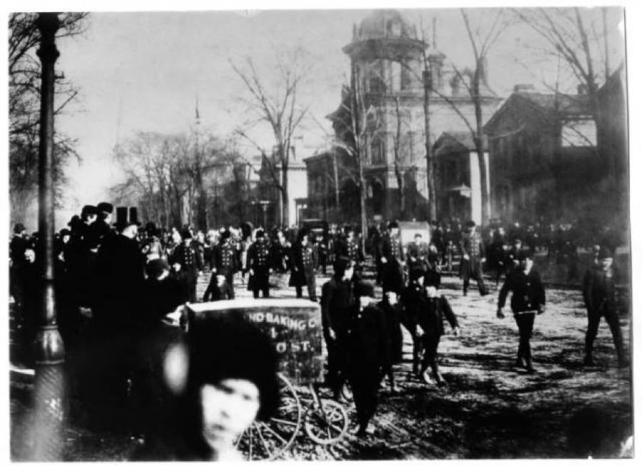 Any ceremonial parade, such as this one on Washington's birthday in 1889, went down Euclid Avenue.