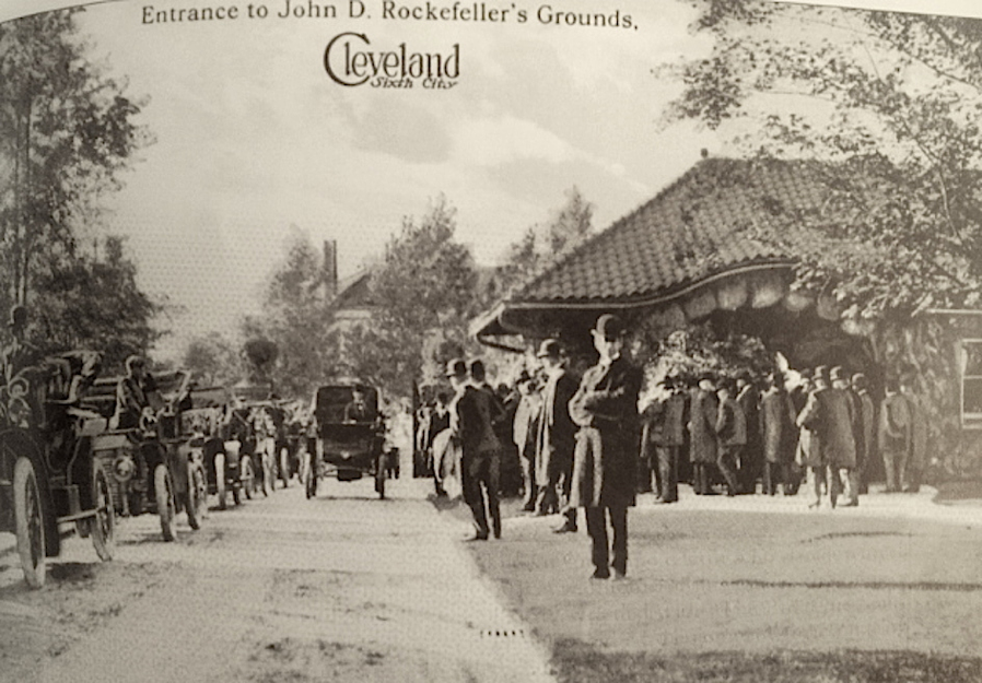 The entrance to the Rockefeller Forest Hill Estate: crowds would line the entrance daily to catch a glimpse of the famous man returning home on a daily basis.