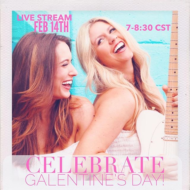 Obviously the best way to spend Valentines Day is to make it Galentine's day with your besties 👯. So come hang out with us on FB live and join in the wine, chocolate, and (paleo) cupcakes and skip the crowds and that couple at table three making out across the table 😑😘. . . . . . . . . #fblive #liveconcert #duo #lovesongs #breakupsongs #valentines #galentinesday #valentinesday #bestfriends #bestie #twinsies