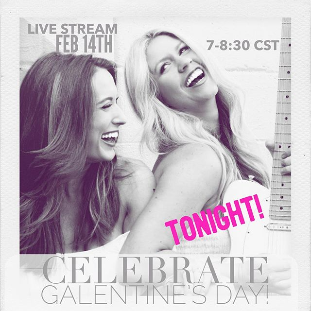 Don't forget to tune in tonight for our FB LIVE Galentine's celebration!  Head on over to our Facebook page to watch. We will be singing our own love songs and taking requests 🙈 so come on and put in a good one 💗. See y'all tonight at 7 CST! . . . . . . . . . #girlswithguitars #love #galentinesday #valentines #pink #red #roses #cupcakes #originalmusic #country #nashville