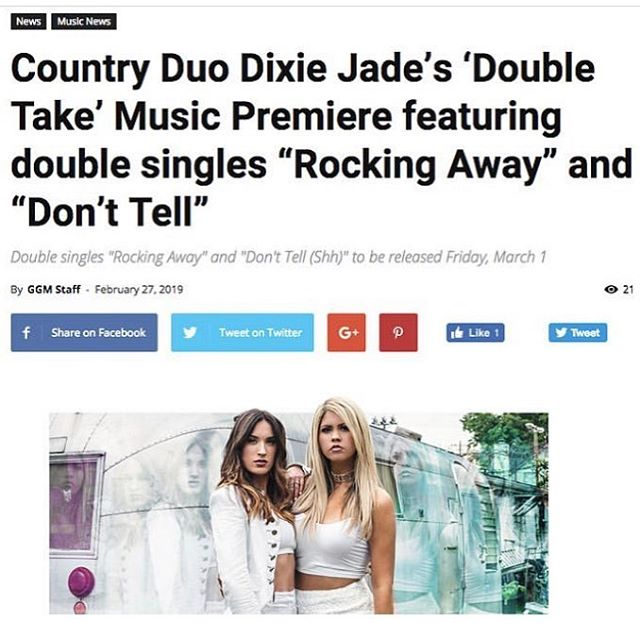 Thanks @guitargirlmag for the awesome writeup on our 2 new singles out now 🥳🎸 [link in bio] . . . . . #dixiejade #doubletake #countrymusic #countryduo #girlduo #music #newmusic #single #nashville #guitar