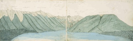 Two page sketch of Lake Rotoiti by Haast in 1860. (Alexander Turnbill Library)