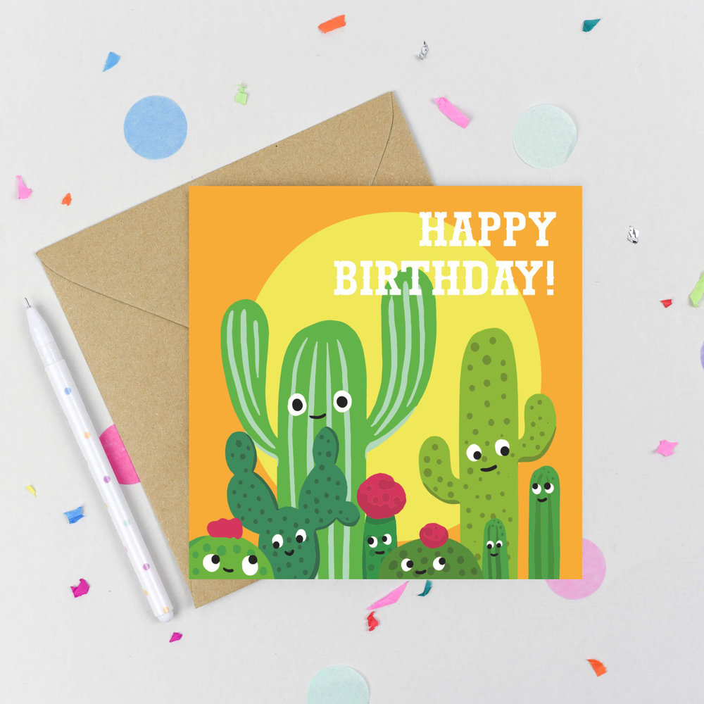 Birthday Card Happy Fun Cactus With A Choice Of Envelopes To Suit