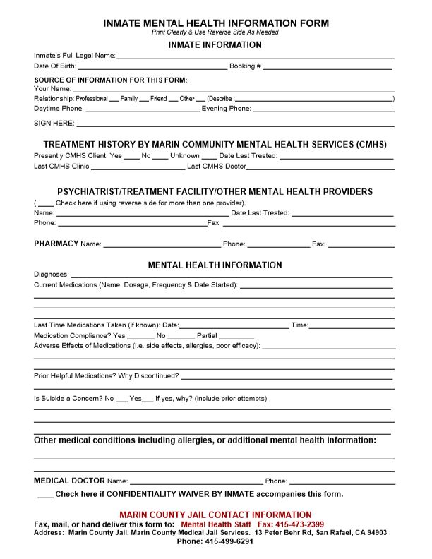 inmate mental health form