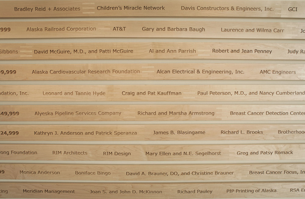 Etched maple slats with donor names