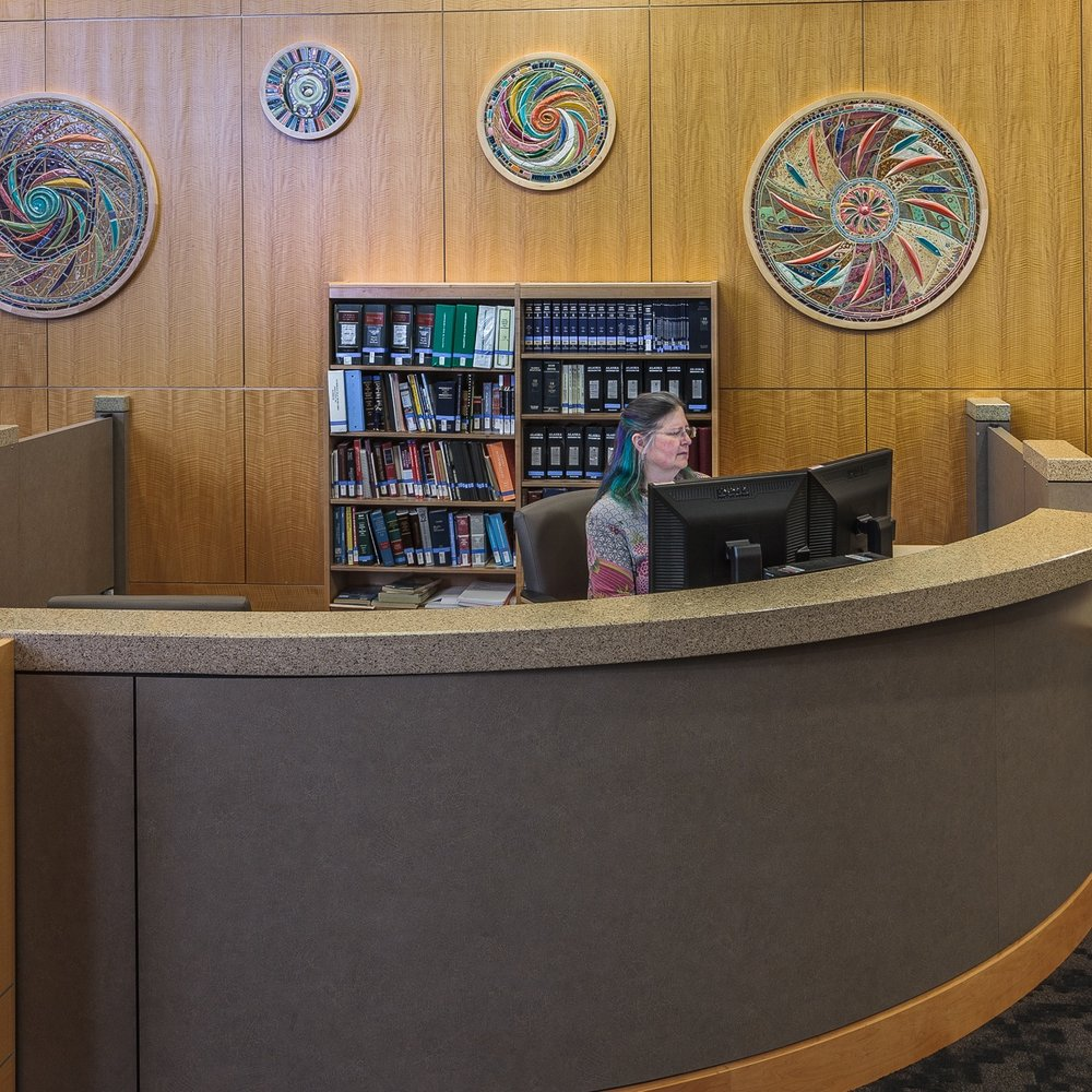 Boney Courthouse Law Library - Anchorage, AlaskaSix Handmade Tile Murals, 2016