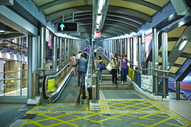 Take a break on your walking tour Hong Kong with the escalator