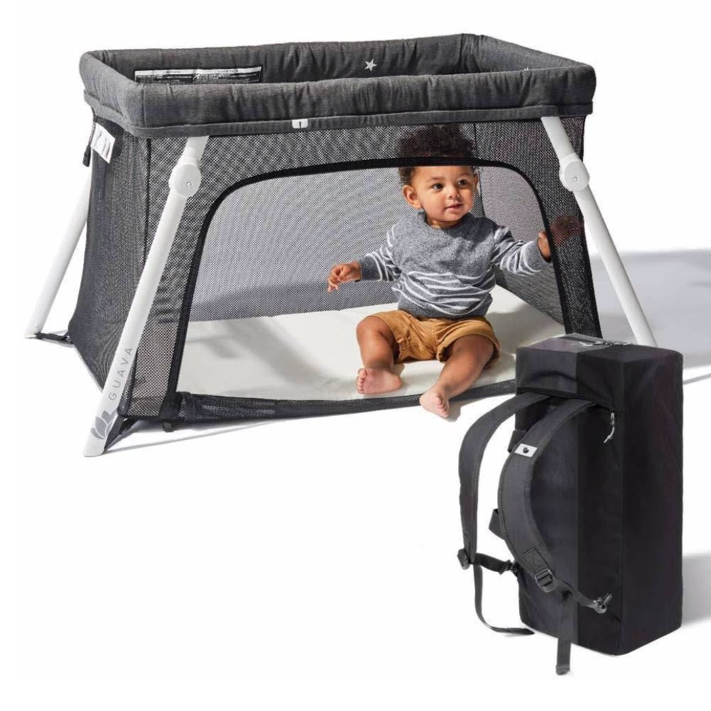 Lotus Travel Crib - This crib is at the top of my list for must haves. It is small and rests on the floor, and fits in most hotel room corners and nooks. You can wear it as a backpack and it is lightweight making it easy to take with you on the road.