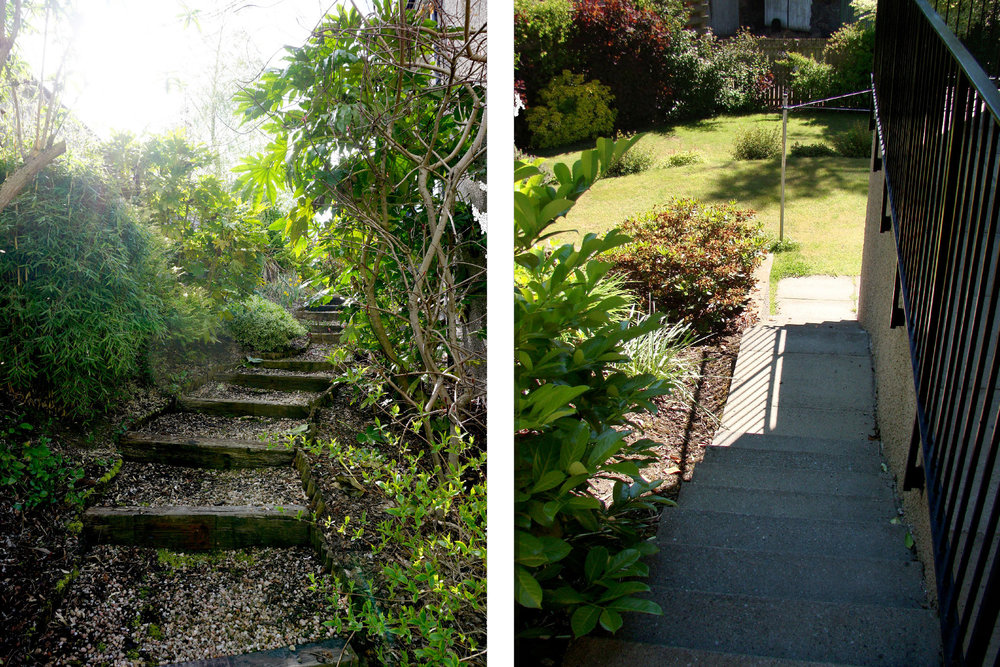 Garden steps each side of the house