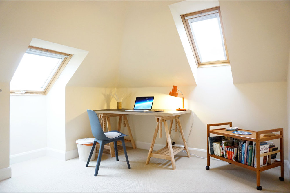 The study provides a quiet space and can double as a baby room