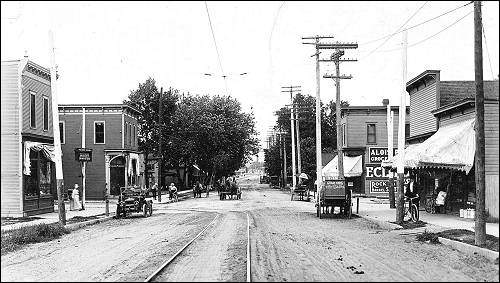 16th Ave SW - looking N.E. across C St.The Czech Cottage is the first buildingon the left and was originally a pharmacyfrom 1901 until 1973