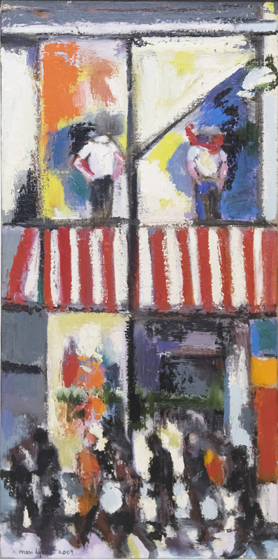 Sidewalk with Striped Awning  30x15 Oil