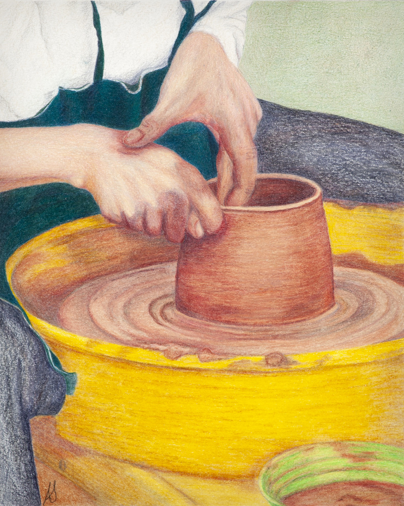 """""""THE POTTER"""",  Color pencil on Bristol Paper,  8x10 inches,  IN PRIVATE COLLECTION"""