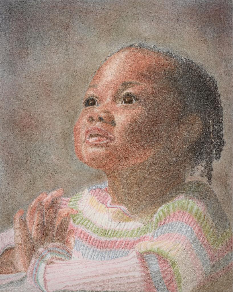 """GOD'S CHILD"",  Color pencil on Bristol Paper,  8x10 inches,  SOLD"