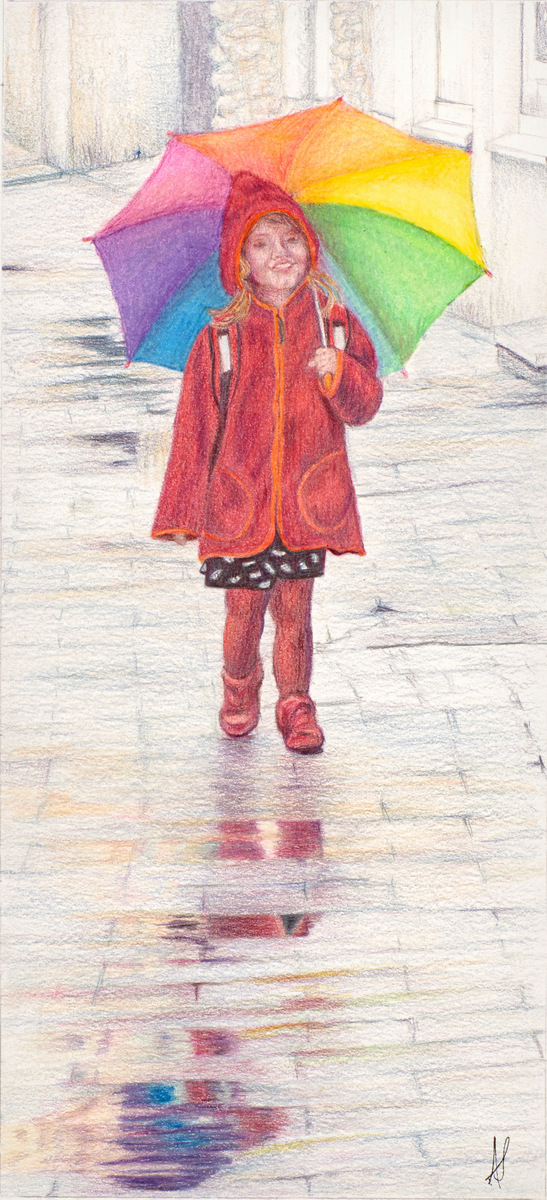 """""""FULL OF SUNSHINE"""",  Color pencil on Bristol Paper,  5x11 inches,  IN PRIVATE COLLECTION"""