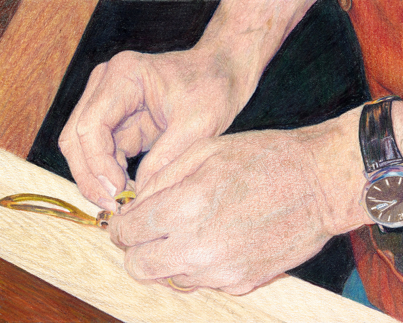 """""""WORKING HANDS"""",  Color pencil on Bristol Paper,  8x10 inches,  SOLD"""