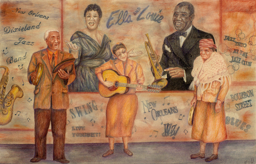 """""""NEW ORLEANS JAZZ"""".  Mixed Media (Color pencil and Charcoal) on Arches Paper,  15x20 inches,  SOLD"""
