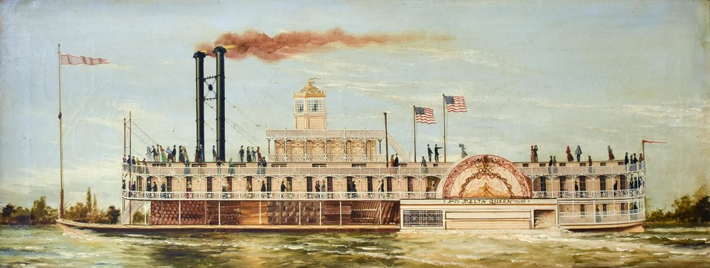 American School, 19th c.,   The Delta Queen,   oil on canvas, titled and illegibly inscribed en verso,  14 1/8 x 36 1/8 in., framed.