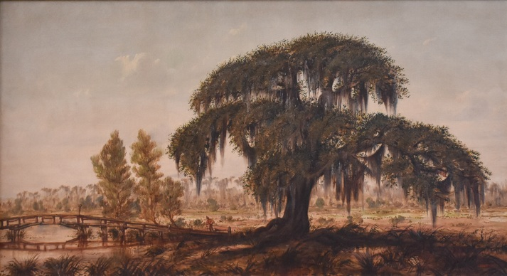 "Marshall Joseph Smith, Jr. (American/New Orleans, 1854-1923)   Louisiana Landscape with Live Oak and Man Crossing a Footbridge,   oil on canvas, initialed ""MJS Jr."" lower right, 16 x 30 in.  In the original period frame bearing partial label from E.T. Blessing en verso, 21 x 35 in.  Provenance: Descended in the family of noted music critic Adolph Pollatsek (Hungary/New Orleans, 1841-1906) and his granddaughter, ballet dancer Constance Reynolds Green (New Orleans, 1916-2012)."