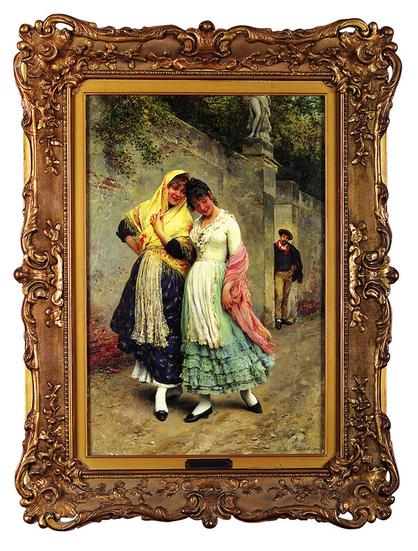 "Eugene von Blaas (Austrian, 1843-1931), ""The Flirtation"", oil on panel,  signed and dated ""1889"" lower right, 32 in. x 20 3/8 in., in the original frame under glass.   Sold on June 3, 2000 for $484,000,  A RECORD PRICE AT AUCTION FOR A FINE ART OR ANTIQUE OBJECT SOLD IN LOUISIANA AT THAT TIME."