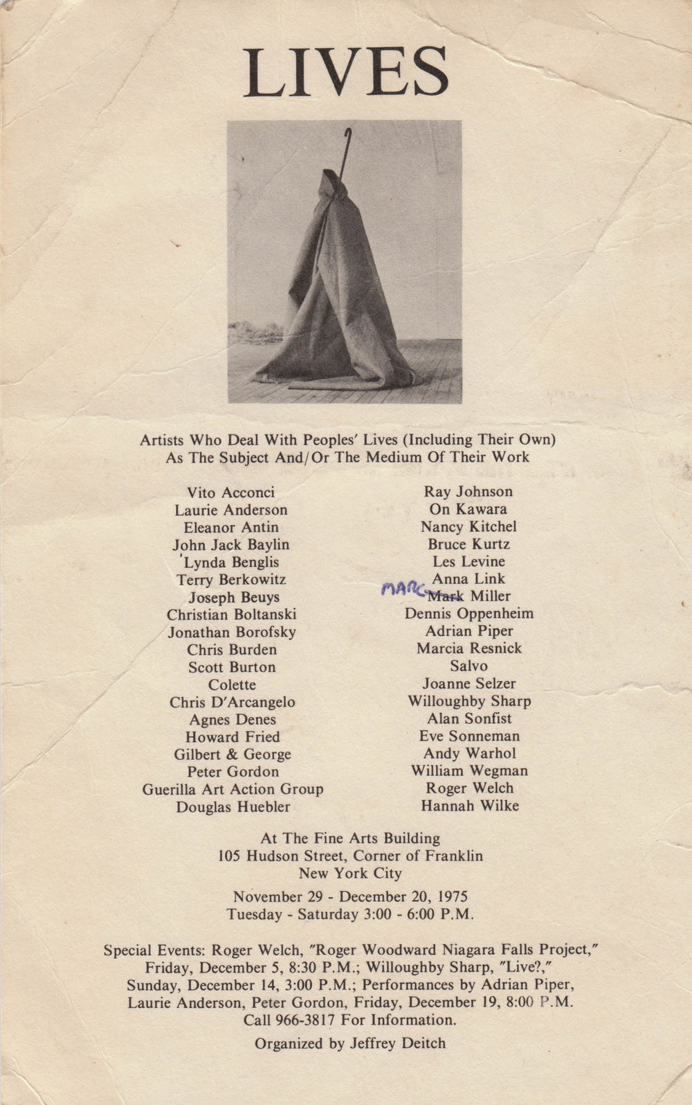 """Announcement for """"Lives,"""" at Fine Arts Building curated by Jeffrey Deitch, 1975"""