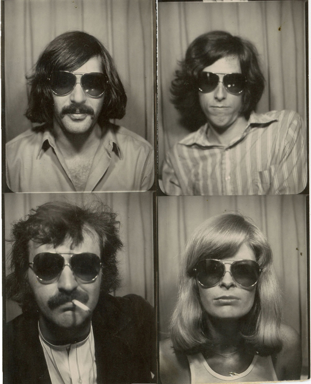 Clockwise: Marc, Mike Malloy, Carla and Mike Shannon, c. 1971. Taken in our favorite photobooth on Mott Street.