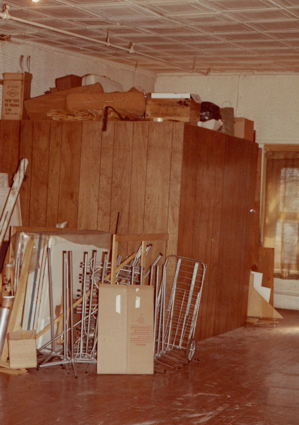 """I took a picture of this cluttered cube in Marc's left becuase I built it 3 or 4 years ago and lived here using it as a bedroom for about a year"" - Tom Wolf, 1974"