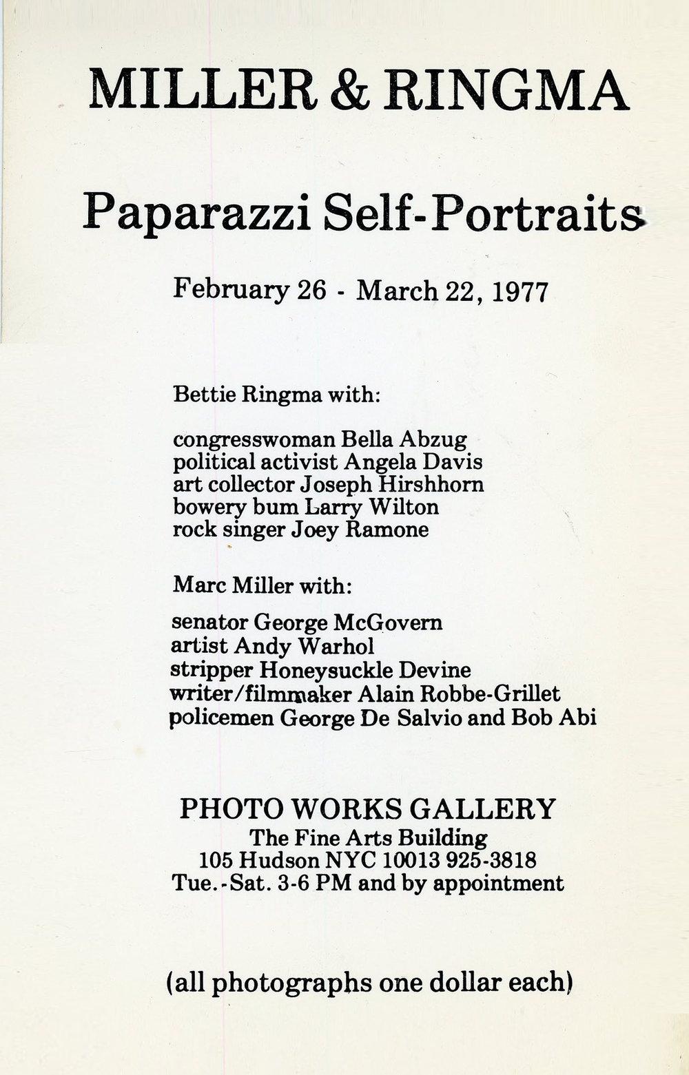 Photo Works Gallery, Miller & Ringma, Paparazzi Self-Portraits, Card, 1977