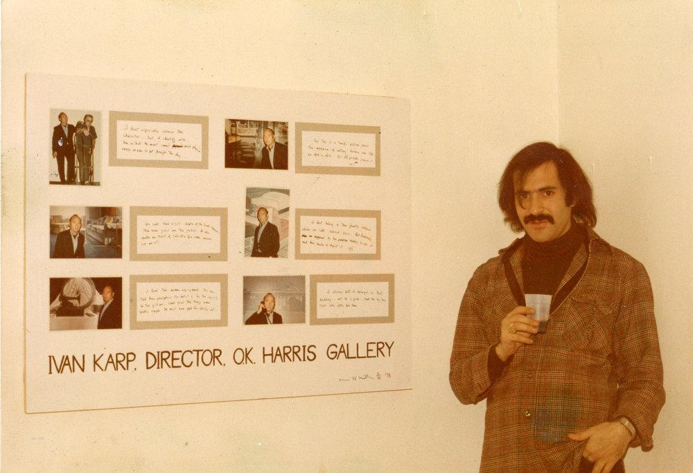 Marc with his portrait of Ivan Karp, Lives exhibition, 1975