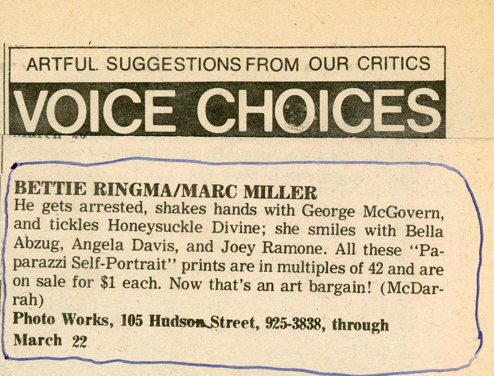 Fred McDarrah for Village Voice, 1977