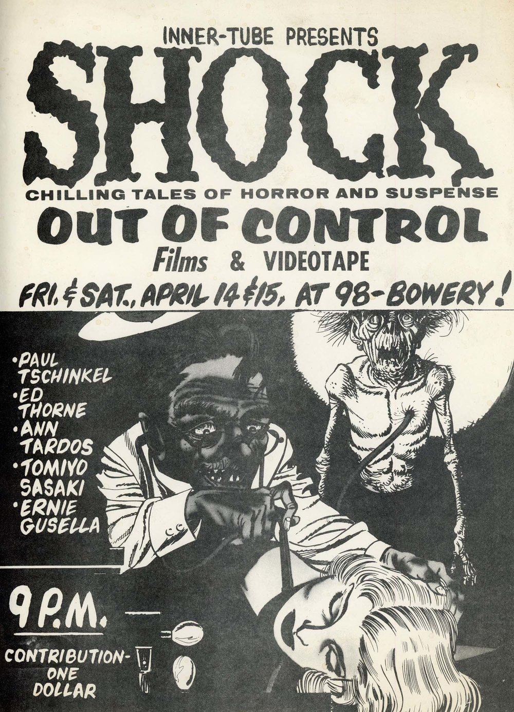 Flyer announcing a screening of tapes in Paul's 98 Bowery studio, 1972.