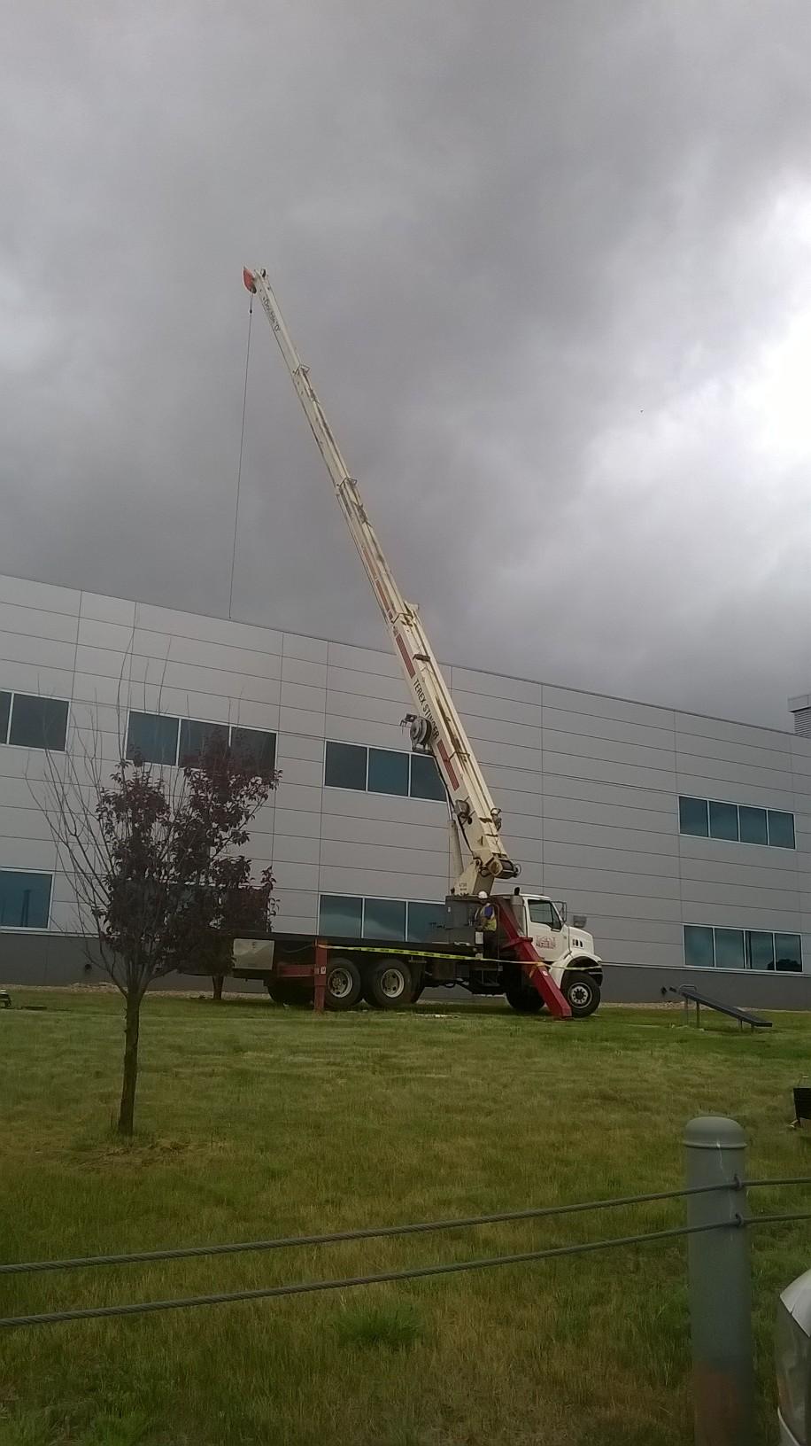 L.E. Roofing's Crane