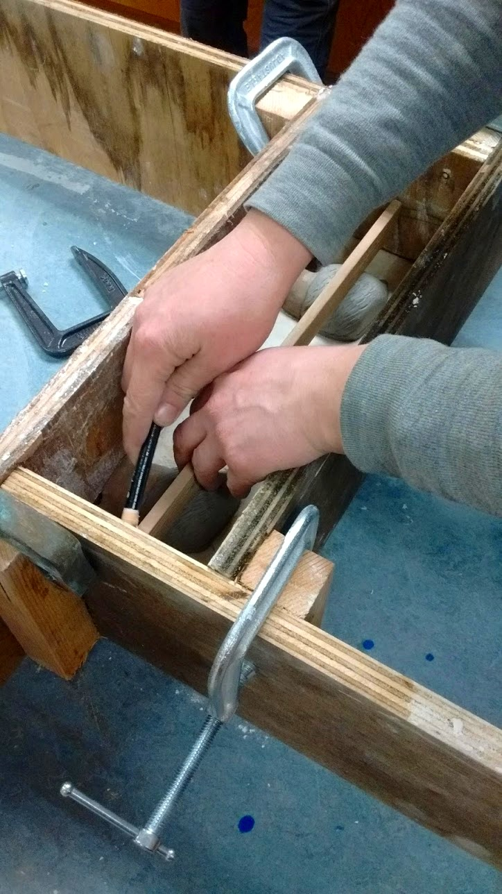 A Ceramics Studio Member learning how to make a slipcast mold in Kat Rose's monitored open studio