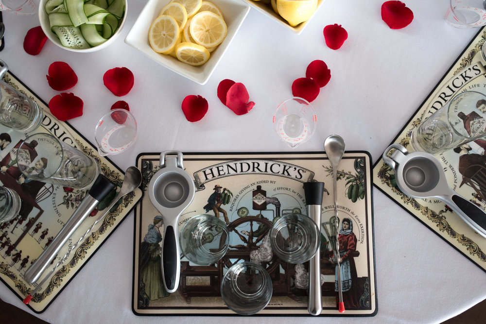 hendricks gin table setting aerial view