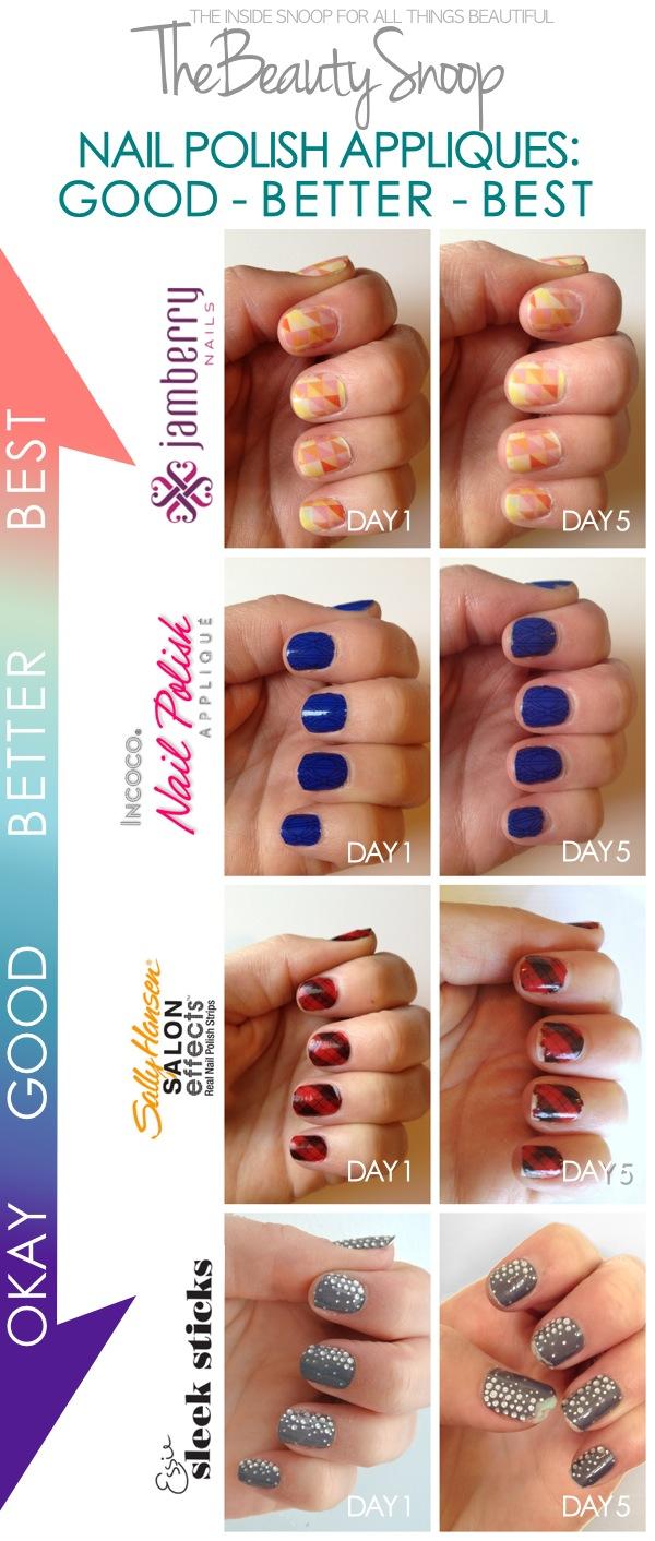 Jamberry Nails, Incoco Nail Applique, Sally Hansen Salon Effects, Essie Sleek Sticks