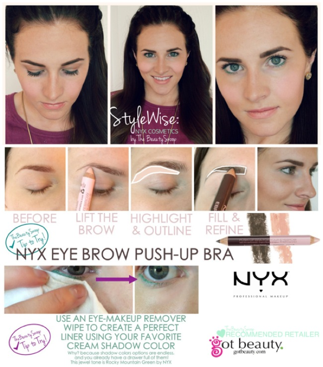 NYX cosmetic- review on eyebrow push up bra, cheek stick, eye color pencil, and dewey setting spray