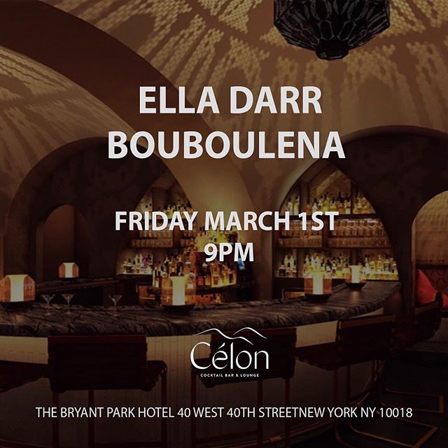 I'm excited for tomorrow night (Friday , March 1st) to get on the decks with @elladarr at this swanky spot at the Bryant Park Hotel in NYC. DM me if you want me to put you on the guest list. starts at 9 and we go on at 11:30. See you guys there ! Xx